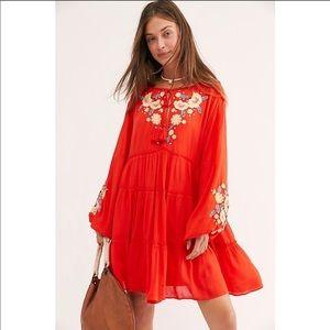 NWT Free people red Embroidered Mini boho Dress